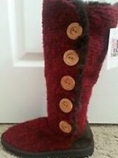 New!  Muk Luks Ladies' Crochet Button-Up Boots-red-7