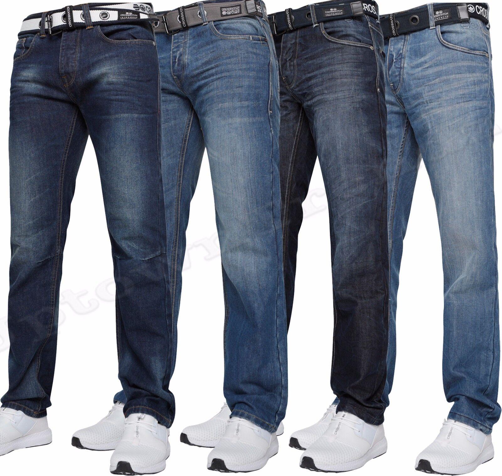 Neu Herren Crosshatch Gerades Bein Jeans 76.2cm To 122cm    | Verkauf  57f514