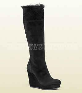 4d2c47e2ab4d Image is loading 995-GUCCI-BOOTS-COURTNEY-SHEARLING-BLACK-GUCCISSIMA-SUEDE-