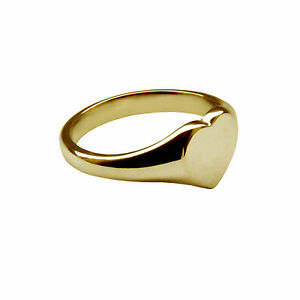 9ct Yellow Gold Half Engraved Child's Heart Shape Signet Ring - Made in England - UK Jewellery zbuI1yw