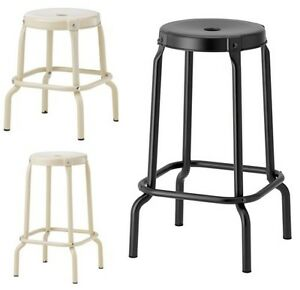 ikea r skog bar kitchen general use stool black beige 45 63cm round metal body ebay. Black Bedroom Furniture Sets. Home Design Ideas