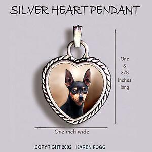 MINIATURE PINSCHER DOG Black  - Ornate HEART PENDANT Tibetan Silver