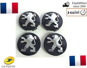 4x-Cache-Moyeu-Jante-Centre-Roue-Enjoliveur-Logo-insigne-Peugeot-60mm-Neuf-Noir