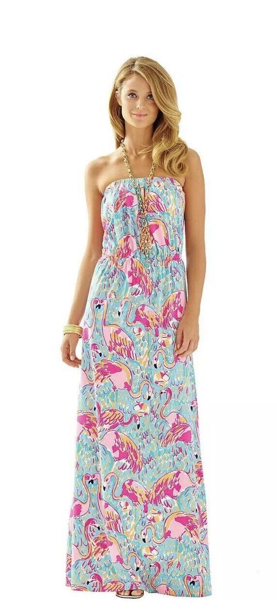 LILLY PULITZER marlisa robe longue Flamingo Peel et hommeger XS neuf avec étiquettes   168