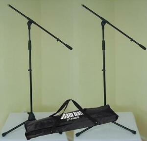 2-x-Mikrofon-Stativ-ECO-mit-Tasche-Mikrofonstaender-mit-Schwenkarm-ADAM-HALL-NEU