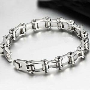 Mens Gents Stainless Steel Bike Bicycle Chain Bracelets Punk Gothic Biker Silver