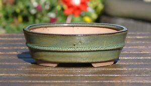 18-cm-Green-Oval-Glazed-Bonsai-Pot