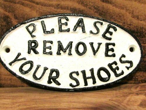 Veuillez retirer vos chaussures-petit ovale en fonte Signe Plaque Porte Mur Maison Signe