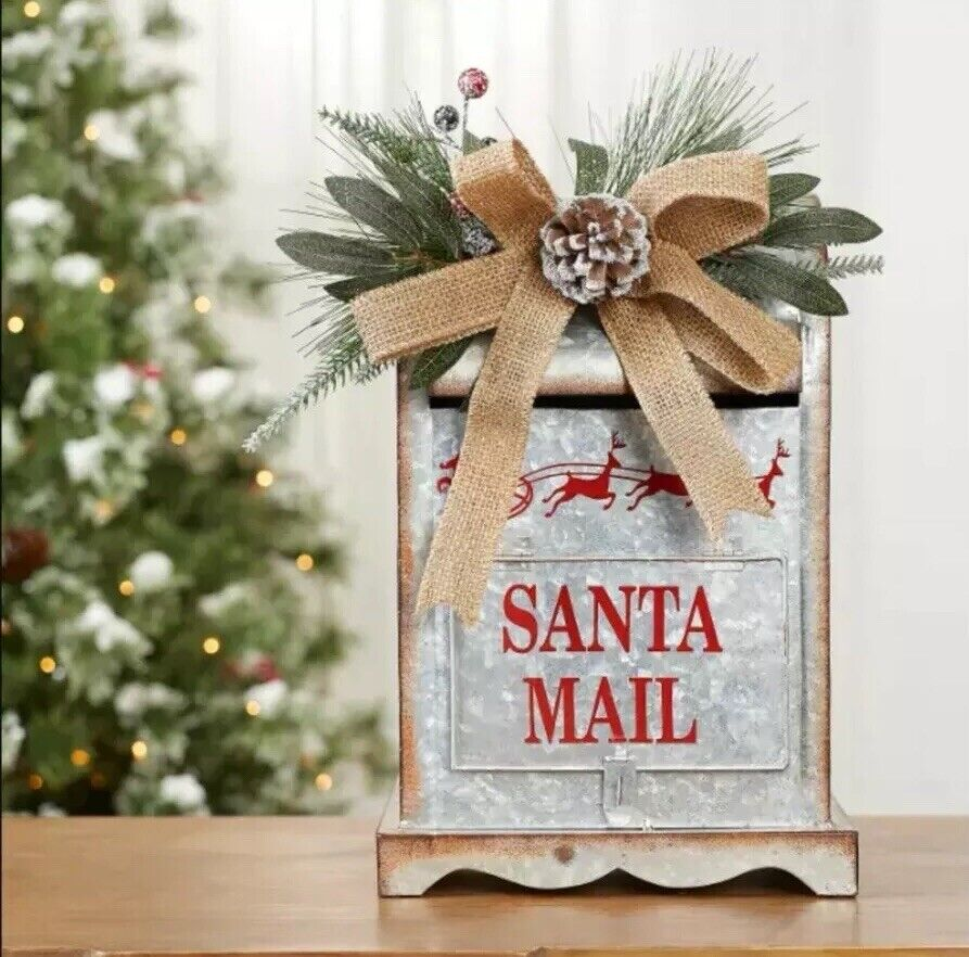 Holiday Time Christmas Decor 23 5 Wooden Metal Mailbox On Pole For Sale Online Ebay