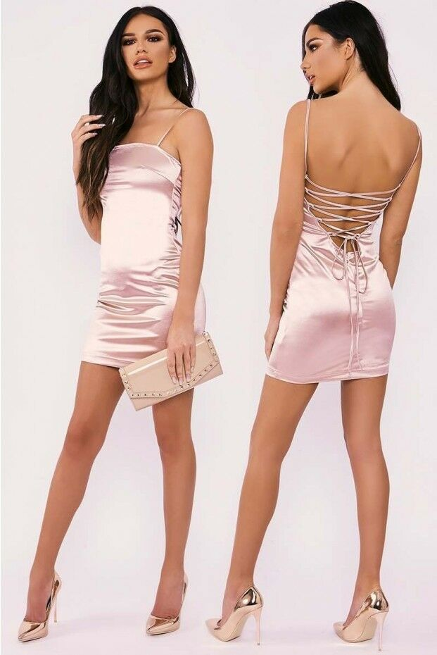In The Style Sarah Ashcroft Pink Lace Up Satin Mini Dress Size DH091 AA 17