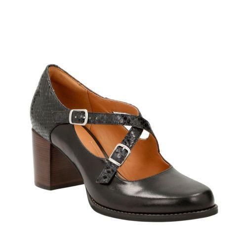 Bnwb 5 6 Leather 5 Ladies heels Clarks 38 Black 40 Size Shoes D OYSqp7Zw