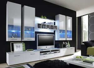 Das Bild Wird Geladen  Wohnwand Anbauwand Wohnzimmer Schrankwand Hochglanz AURA II LED