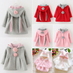 371f1002d Toddler Baby Girl Hooded Jacket Coat Newborn Kids Winter Rabbit Ear ...