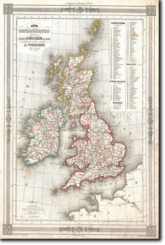 FROM 1852 MAP OF UNITED KINGDOM UK HISTORIC VINTAGE PHOTO PRINT POSTER