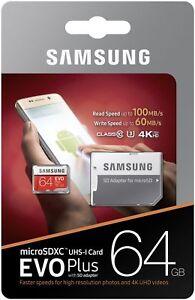 carte sd 64 go samsung Samsung 64GB Micro SD EVO PLUS For Go Pro Hero 4K U3 100MB/r 60MB