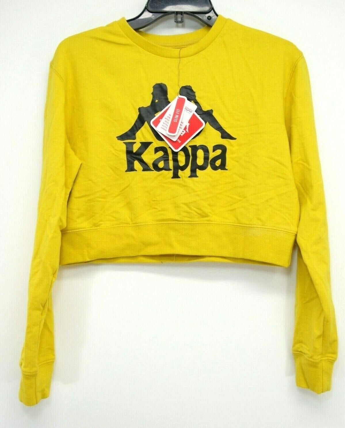 Neu Kappa Pacsun Damen Gelb Fußball Logo Gekürzt Pullover Slim Sweatshirt Klein
