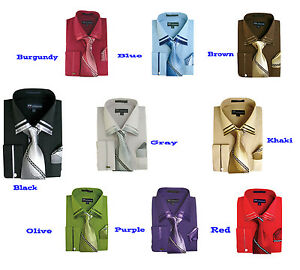 Men-039-s-new-Dress-shirt-embroider-cuff-and-collar-with-tie-and-handkerchief-SG28