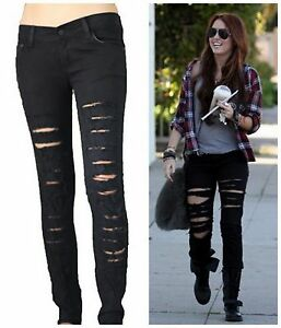 ROCK BLACK Destroyed RIPPED JEANS women SKINNY stretch LOW RISE ...