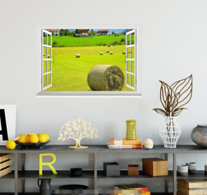 3D-Grassland-House-7-Open-Windows-WallPaper-Murals-Wall-Print-Decal-Deco-AJ-WALL