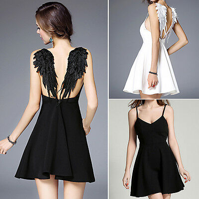 SVOKOR Summer Party Dress Women Sexy Angel Wings Backless Black Dress