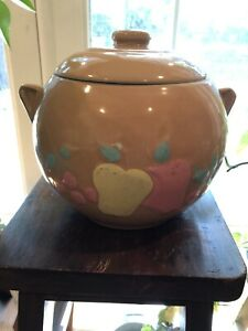 Vintage-Antique-Stoneware-McCoy-Pink-Cookie-Jar-Hand-Painted-Fruit-Made-in-USA
