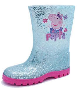 GIRLS-KIDS-BLUE-GLITTER-PEPPA-PIG-WELLIES-RAIN-SPLASH-WELLINGTON-BOOTS-UK-4-10