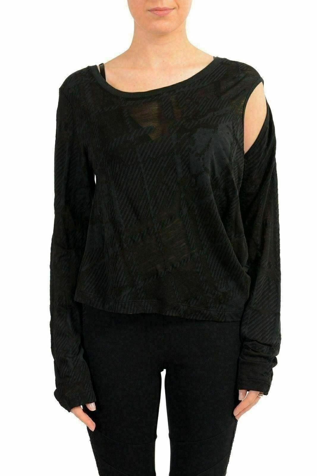 Maison Margiela MM6 Damen Wolle Schwarz Ausgeschnitten Langarmshirt US es 42