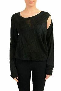 Maison-Margiela-MM6-Women-039-s-Wool-Black-Cut-Out-Long-Sleeve-Top-US-M-IT-42
