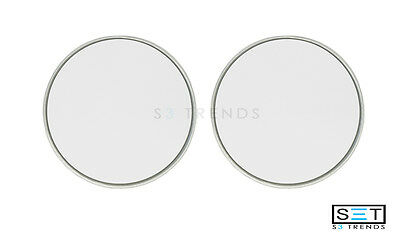 "2 PC ROUND 3"" SILVER STICK-ON BLIND SPOT CONVEX WIDE ANGLE MIRRORS CAR TRUCK SUV"