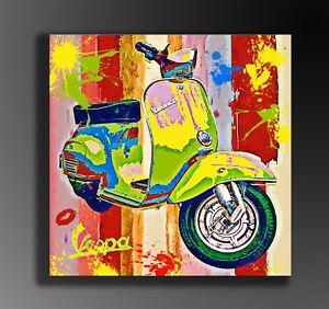 QUADRO-PIAGGIO-VESPA-MODERNO-POP-ART-PRONTO-D-039-APPENDERE-gia-con-telaio-tela
