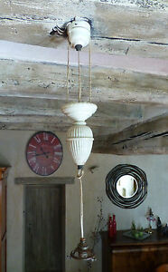 SUSPENSION-Ancienne-MONTE-amp-BAISSE-Porcelaine-3-brins-RARE