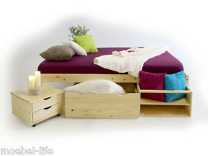 claas funktionsbett doppelbett bett mit stauraum schubladen kiefer holz 180x200 ebay. Black Bedroom Furniture Sets. Home Design Ideas