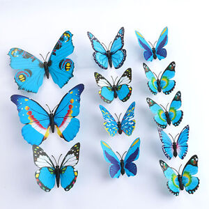 3D-DIY-Blue-Butterfly-Wall-Sticker-Butterfly-Home-Decor-Room-Stickers-12Pc-Set