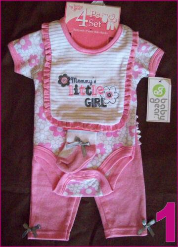 3-6 mths New GIRLS ROMPER BodySuit with Bib Pink 0-3 BABY 4 Pc GIFT SET