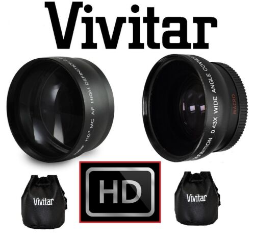 2-Pc Lens HD Telephoto & Wide Angle Lens For Panasonic Lumix DMC-FZ18 DMC-FZ28