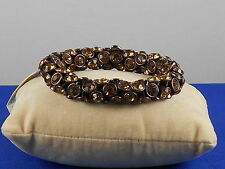 Fossil Brand Brown Ion Plated Brown Crystal Bling Stretch Bracelet JA4176 200