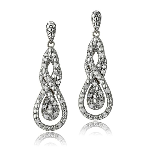 1/4 Ct Diamond Intertwining Infinity Dangle Earrings