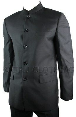 Mens Black Suit Grandad Chinese Collar Beatle Style Work Wedding Party