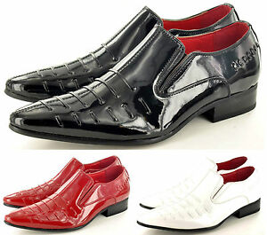 Mens-Leather-Lined-Pointed-Winkle-Pickers-Brogue-Patent-Shoes-Boots-UK-Sz-6-12