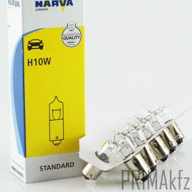 10x NARVA Glühbirne Glühlampe Lampe Mini Halogen H10W 12V 10W BA9s Original Neu