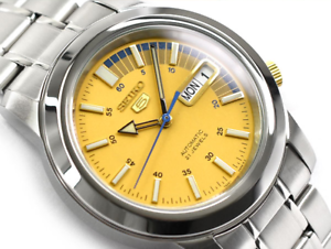 Seiko-5-Classic-Men-039-s-Size-Yellow-Dial-Stainless-Steel-Strap-Watch