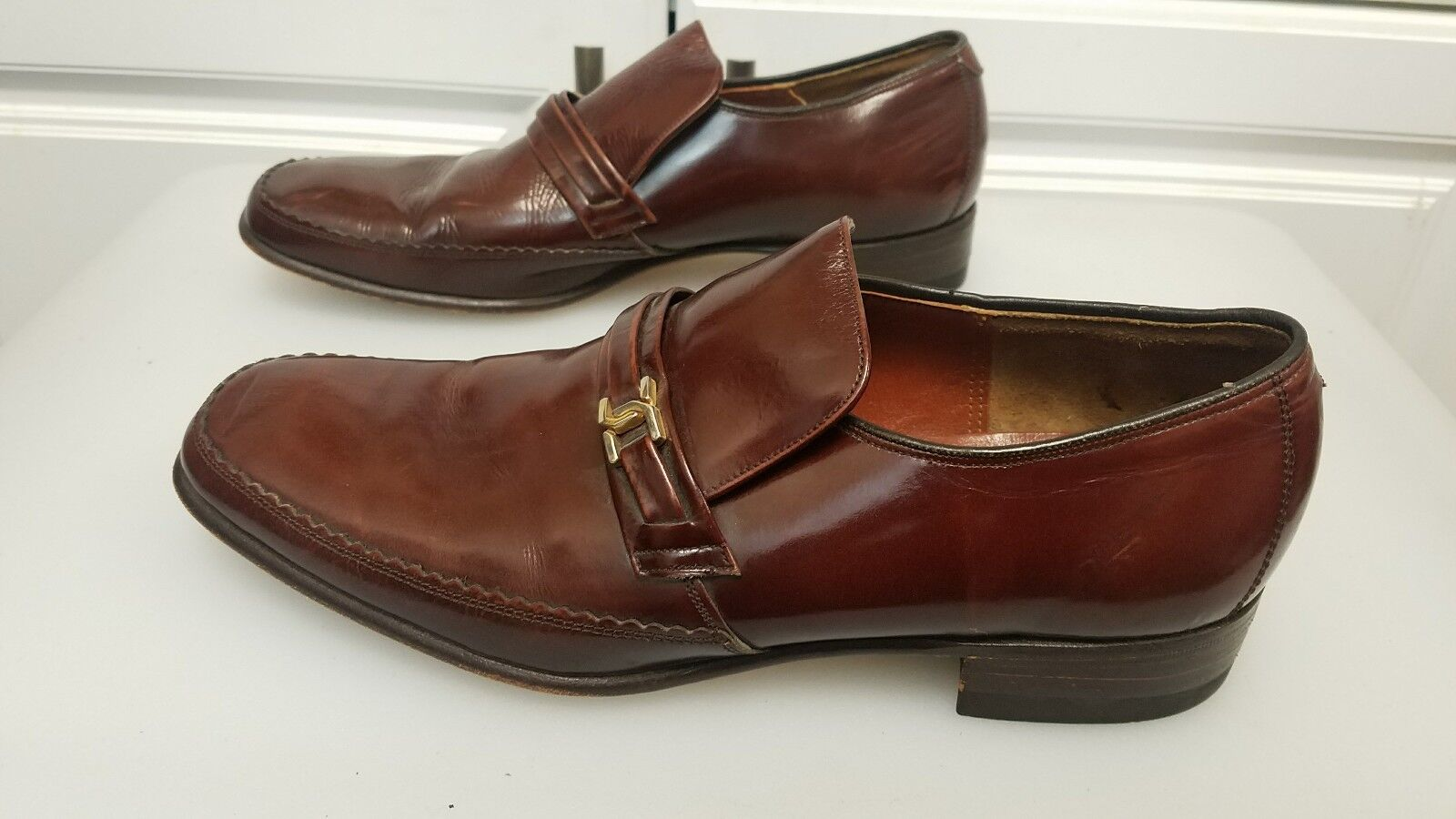 Barker Novas rockabilly leather men shoes - size 6.5 E loafer - great condition
