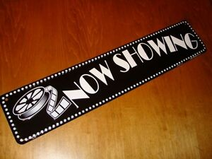 LONG 2 FOOT NOW SHOWING MARQUEE SIGN with Cinema Movie Reel Film Artwork Decor
