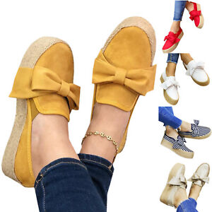 Women-Bowknot-Espadrilles-Slip-On-Casual-Shoes-Pumps-Boat-Trainers-Comfy-Loafers