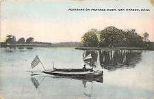 Ohio Postcard 1909 OAK HARBOR Pleasure on PORTAGE RIVER Boat Flag