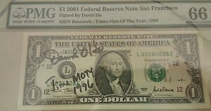 Willie-USD-1-Dollar-Year-2001-Signed-by-David-Ho-AIDS-Research-Time-MOTY