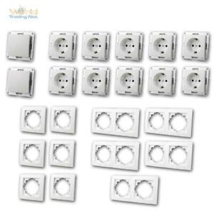 Schalter-Steckdosen-und-Rahmen-Set-Flair-034-Niveau-034-23-teilig-UP-unterputz-weiss