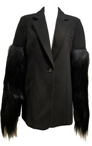 NEW-VERA-WANG-COLLECTION-BLACK-BLAZER-WITH-FUR-SLEEVES-4-US-38-IT-1650