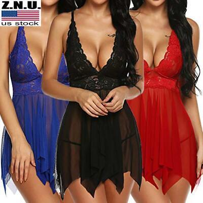 US Women Ladies Lace Sissy Lingerie Set Nightwear Mesh Dress Underwear Sleepwear
