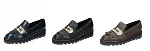 LIU JO Scarpe Donna Mocassini Blu Nero Marrone in Pelle Borchie Made in Italy